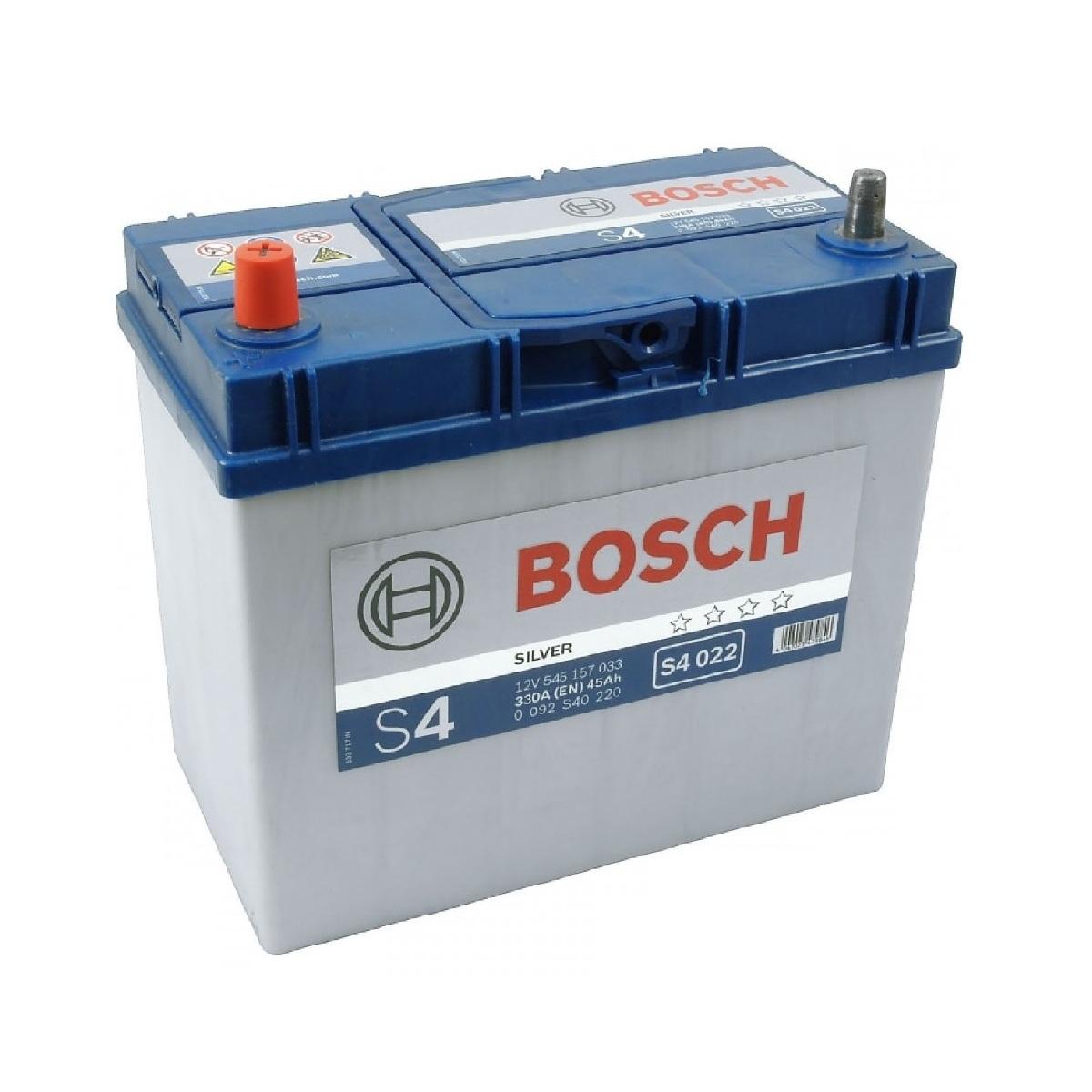 Купить Аккумулятор Bosch 45Ah S4 Silver (1) 330A Asia тонкие клеммы S4022